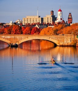 A view of Cambridge, MA in the fall from the Charles Riverboats