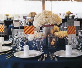 table set with white florals