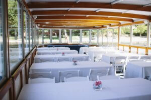 tables for 6 set on baord vessel