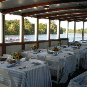 tables for 6 set on board vessel