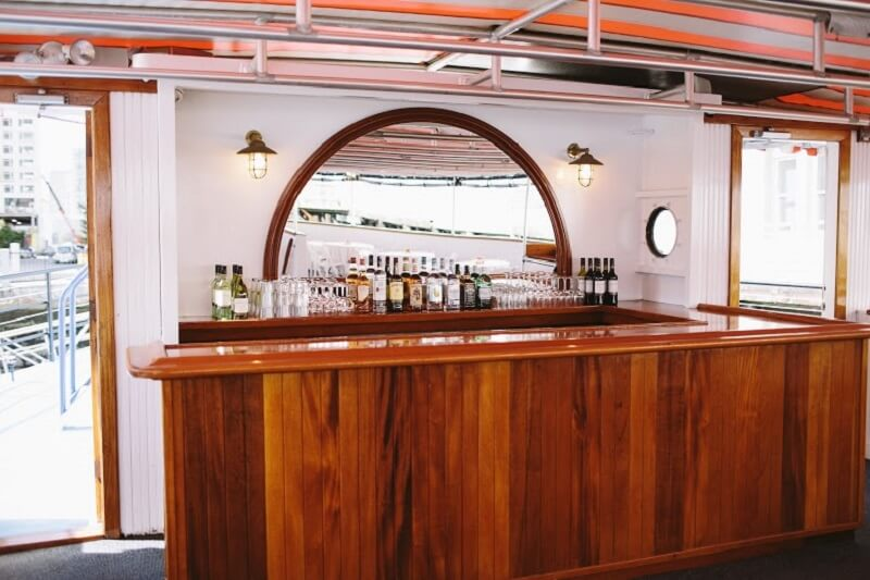 the bar on board the charles riverboat lexington