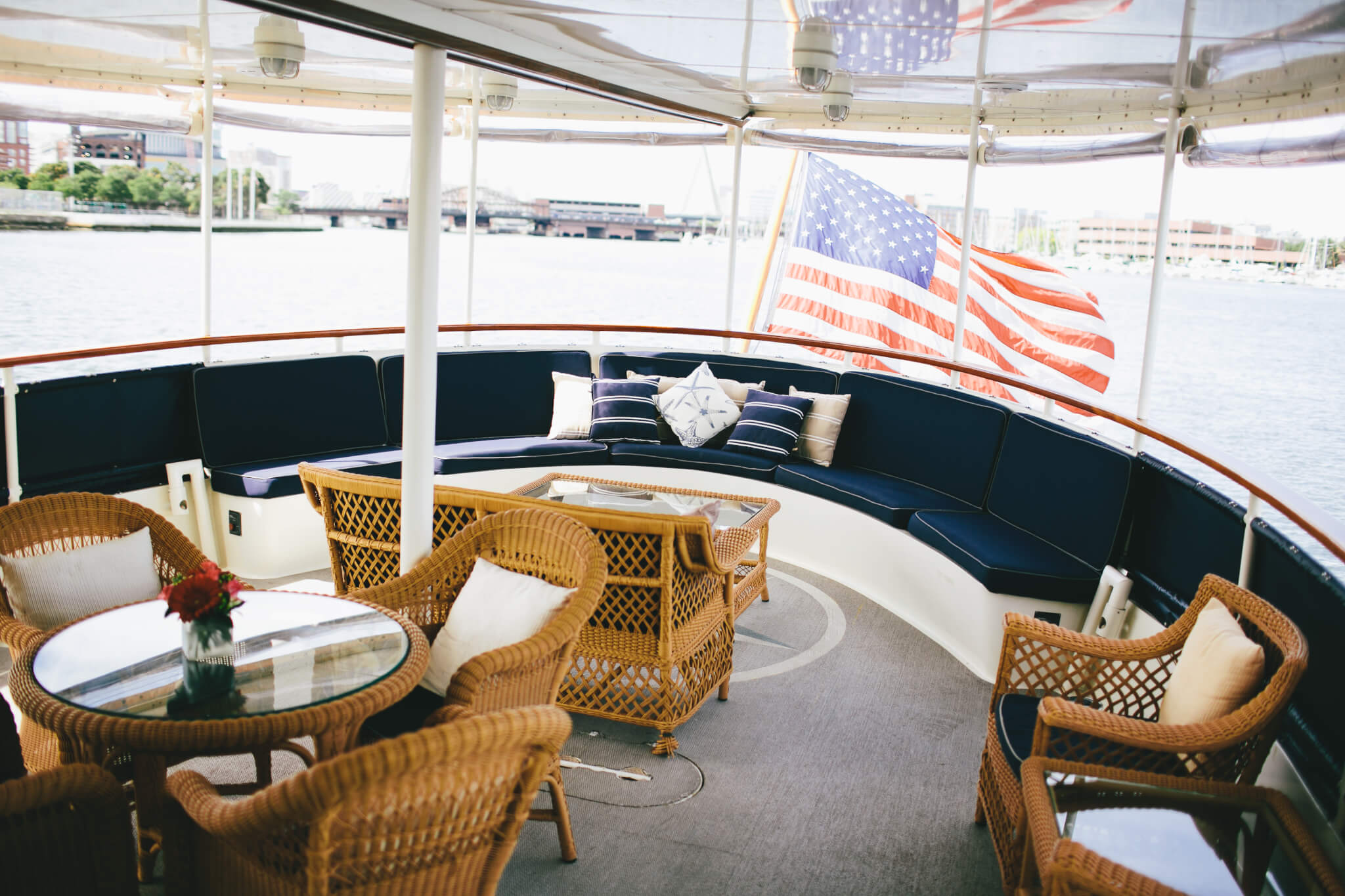 seating area on board the charles riverboat valiant