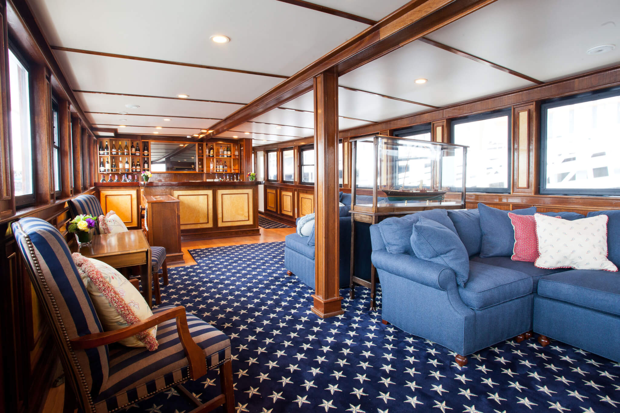 sitting room on board the charles riverboat valiant