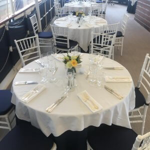 table set for a private charter