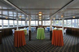 tables set on board the charles riverboat lexington