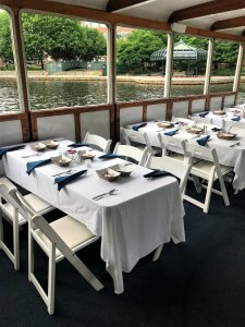 tables set for 6 on board charles riverboat