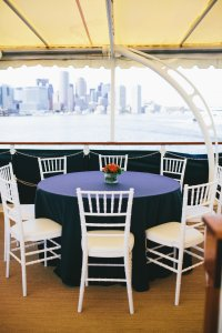 table set on board the charles riverboat valiant