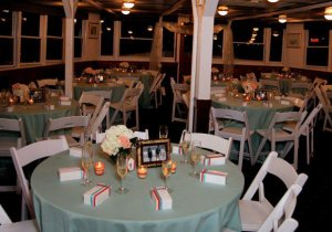 tables set on the charles riverboat lexington