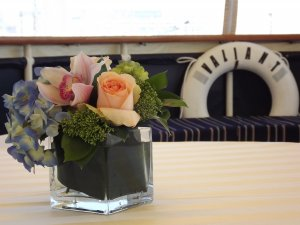 floral arrangement on a table on the charles riverboat valiant