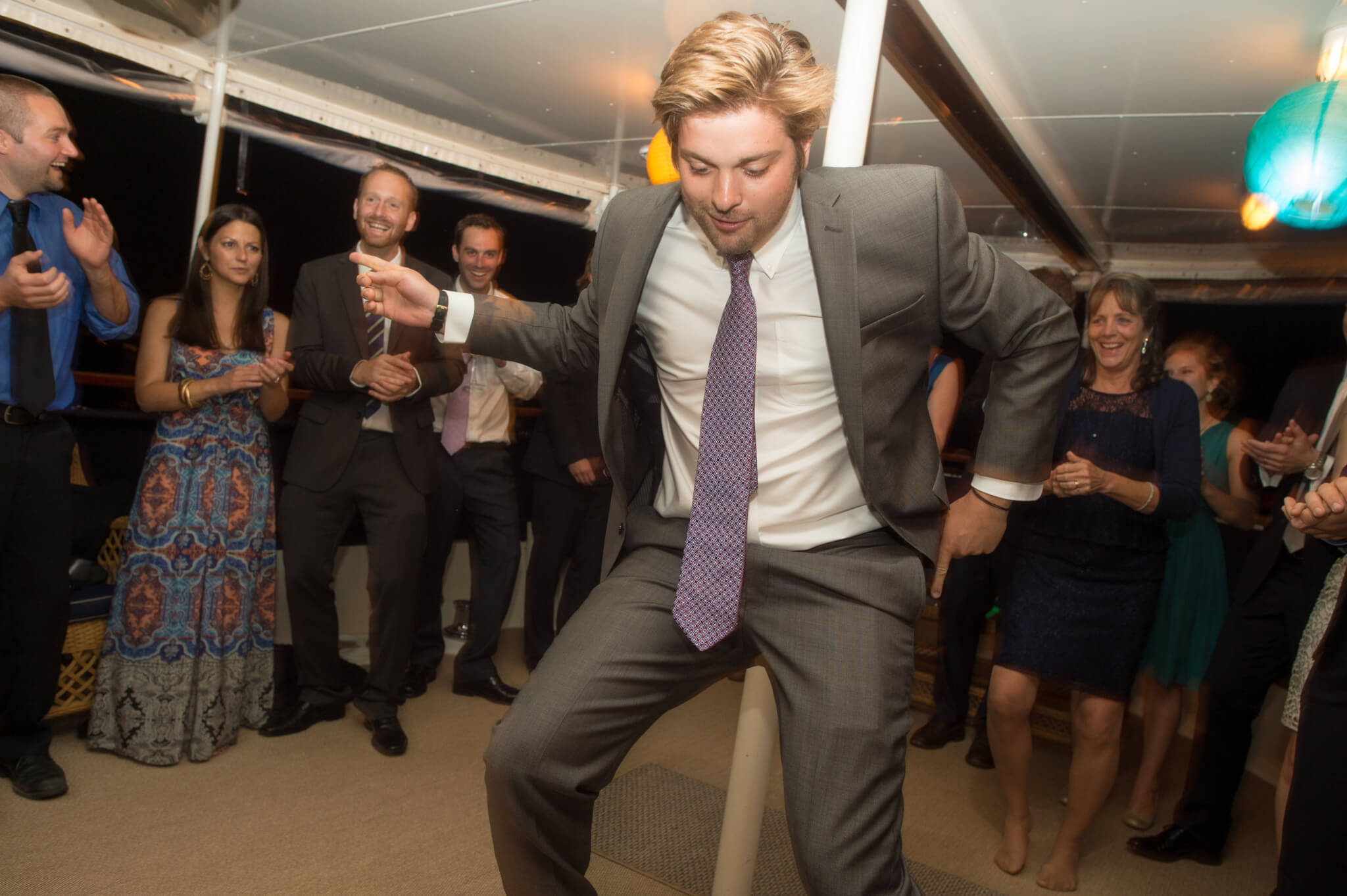 man dancing at a private charter event