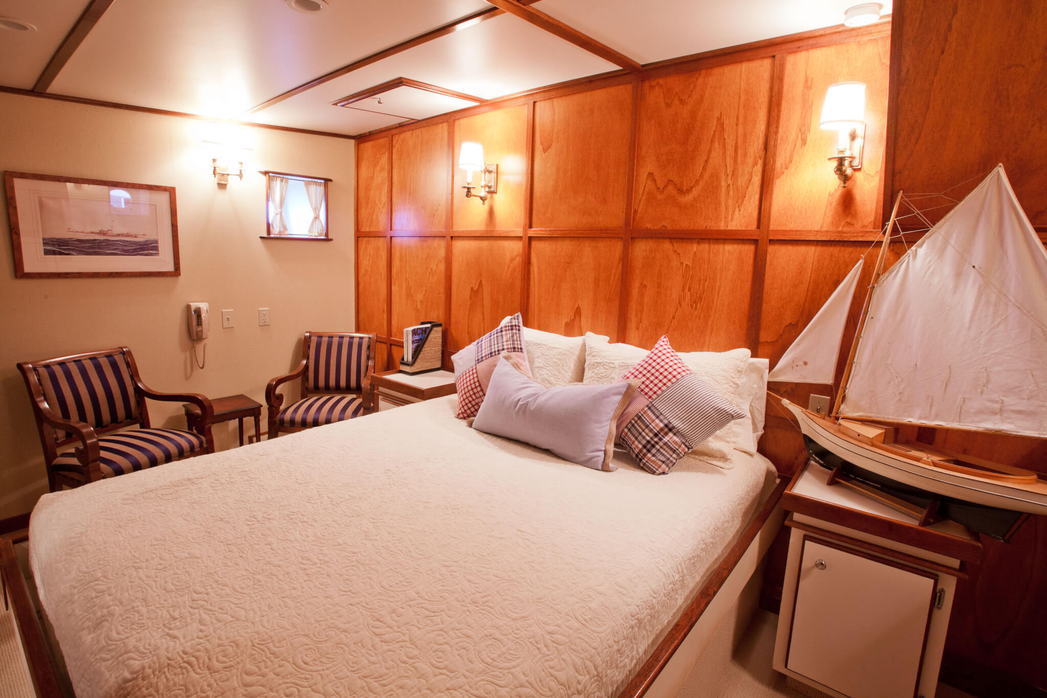a bed on board a charles riverboat vessel