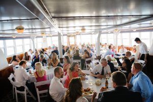 large group dining on board ship