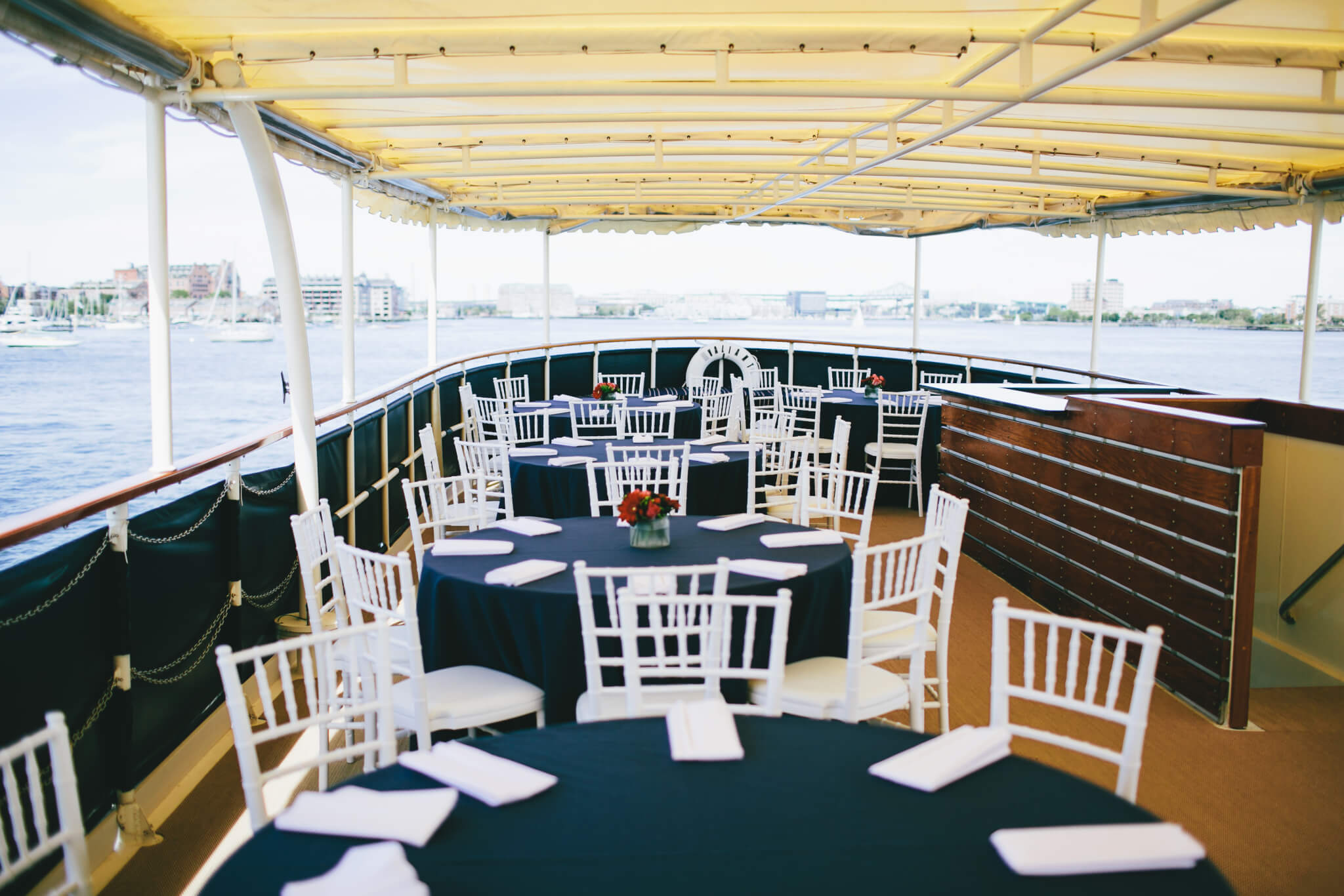 tables set on board charles riverboat valiant