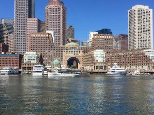 boston's seaport from the water