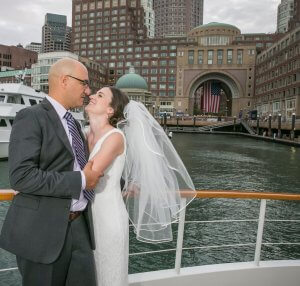bride and groom in seaport boston