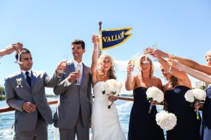 bridal party toasting on valiant