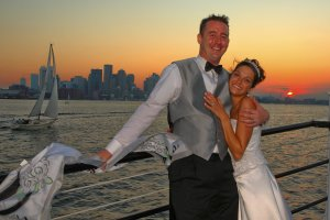 bride and groom on ship