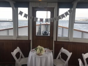 just married banner on ship