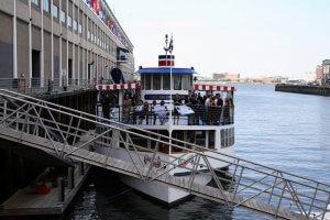 charles riverboat lexington docked in seaport boston