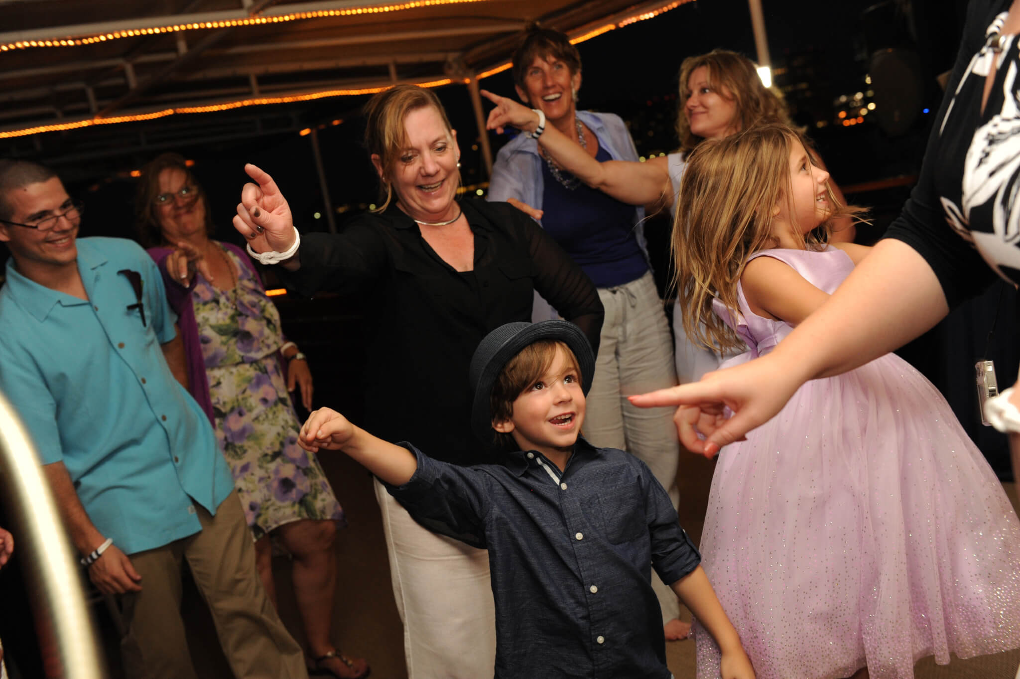 family dancing at wedding