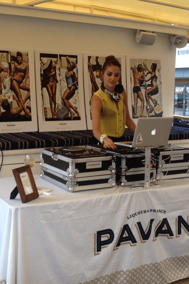 female DJ hosting private charter event
