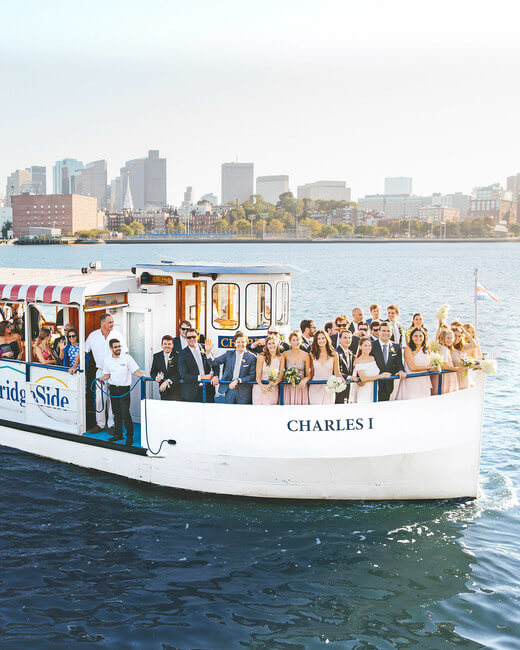 A wedding party on the Charles Riverboats in Boston, MA