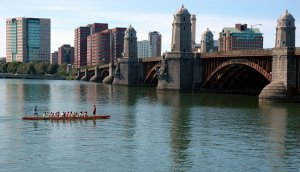 A snapshot of Harvard's rowing team on the Charles River