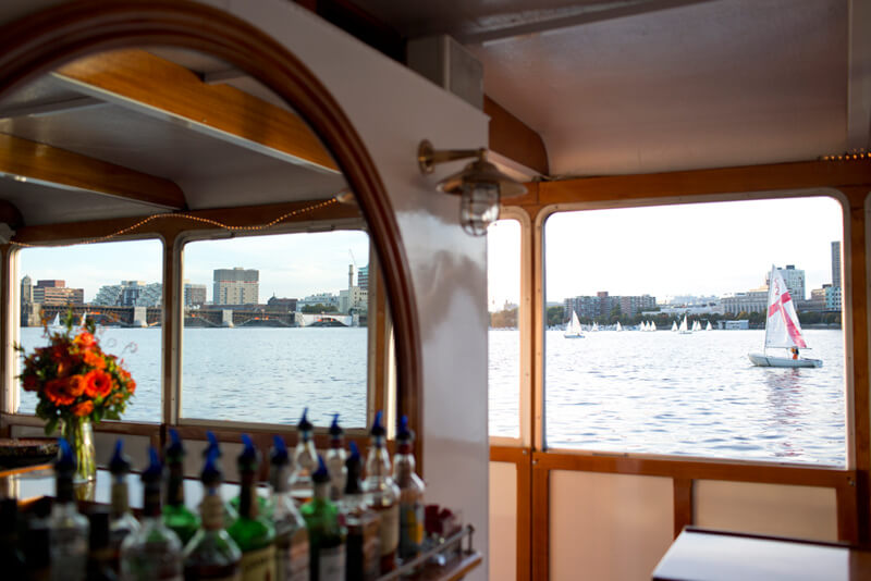 view from a charles river boat bar