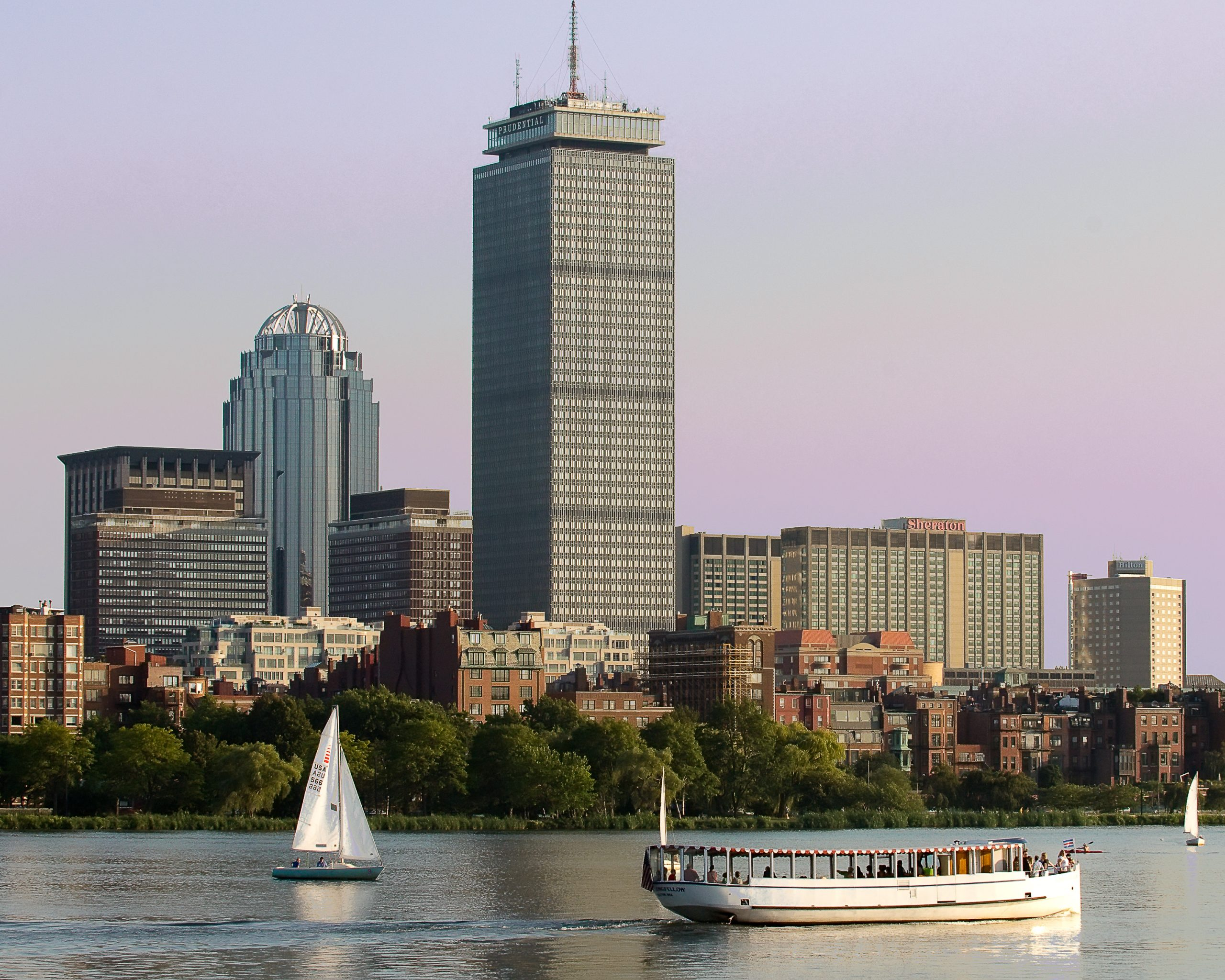 The Henry Longfellow of the Charles River Boat Company cruises along the Charles River basin.