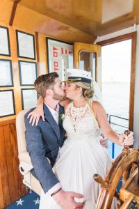 newly married couple on the boat