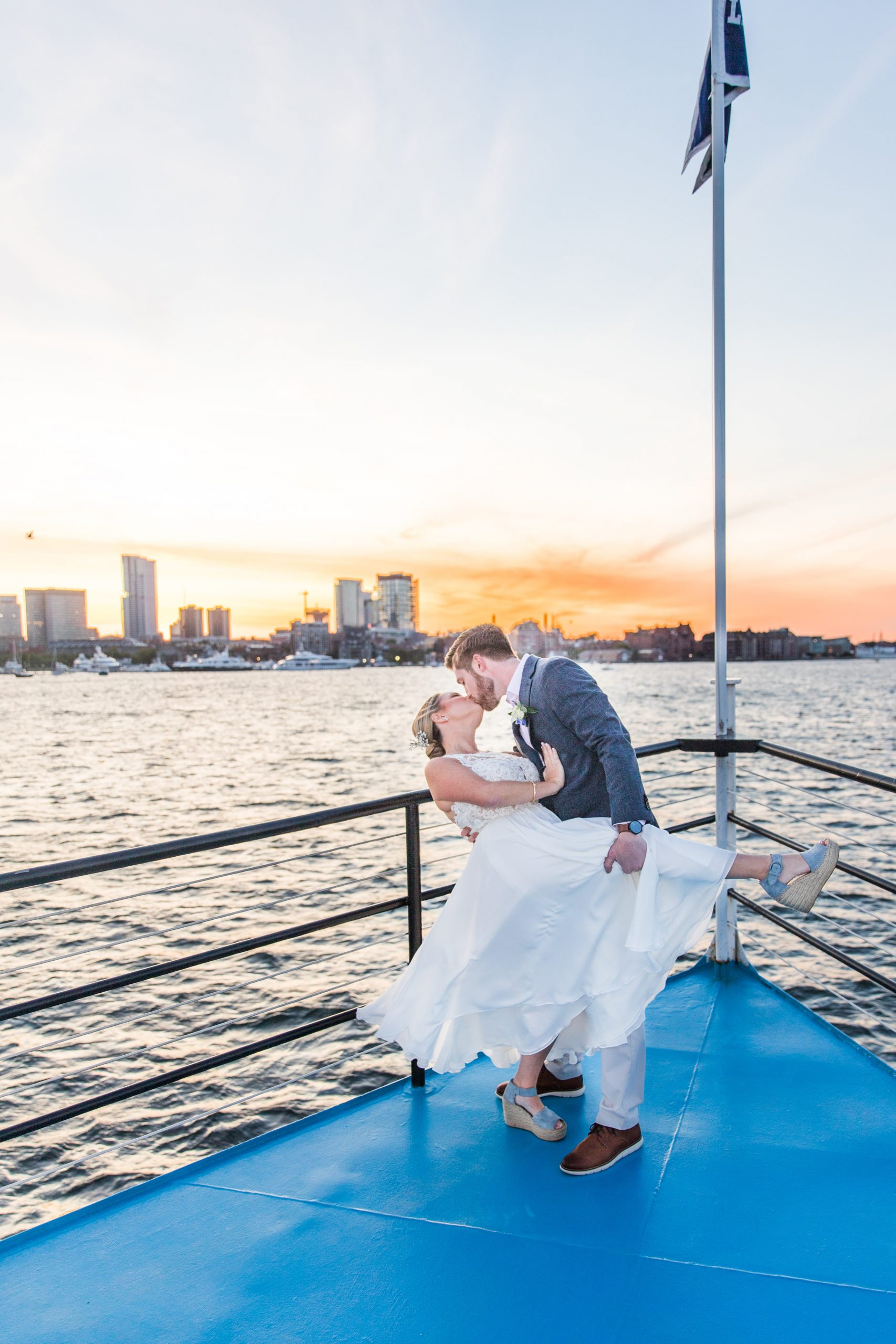 happy couple married on the charles