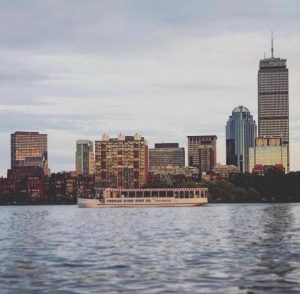 city skyline from boat on water